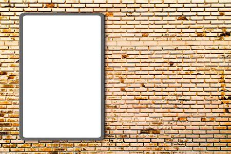 3d Blank advertising billboard on brick wall photo