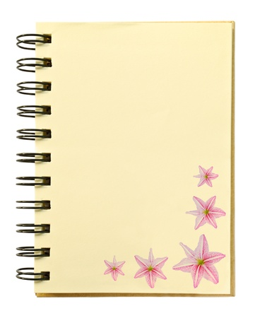 pink orchid texture on blank notebook photo