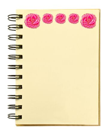 ribbon on blank notebook photo