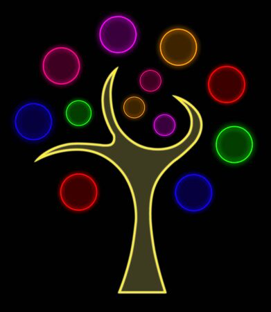 Abstract colorful tree on black background Stock Photo - 13733337