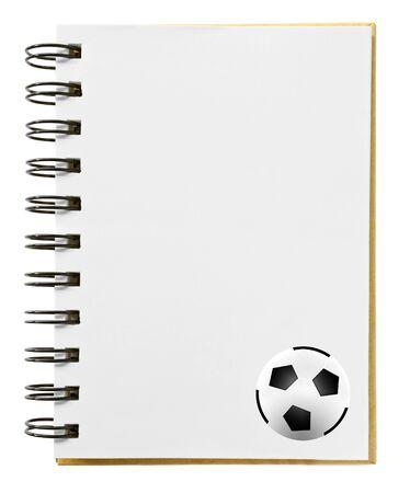 soccer ball on blank notebook photo