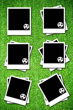 Set of photoframe with soccer  ball on artificial grass field texture