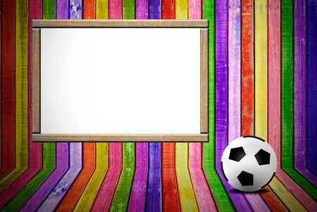banner and soccer ball on colorful empty wood advertisement photo