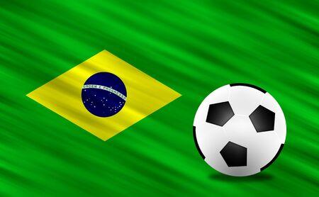Soccer ball and  Brazil  flag photo