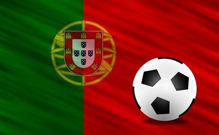 b ball: Soccer ball and Portugal flag Stock Photo