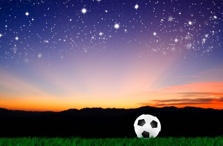 soccer ball on grass with natural background photo