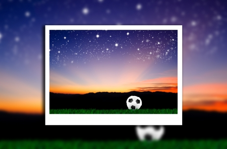 photo of soccer ball on grass with natural background photo