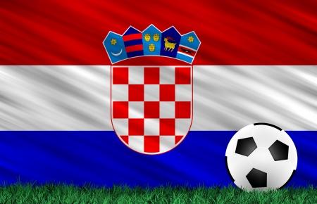 Soccer ball on grass field and  Croatia flag Stock Photo - 13794352