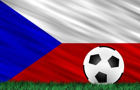 Soccer ball on grass field and  Czeck  flag photo