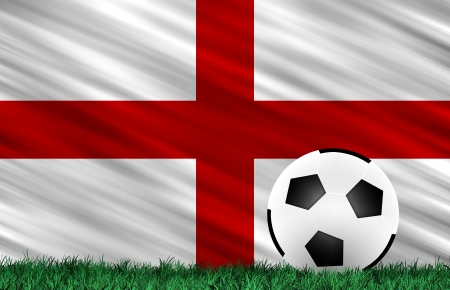 Soccer ball on grass field and  England flag Stock Photo - 13794349
