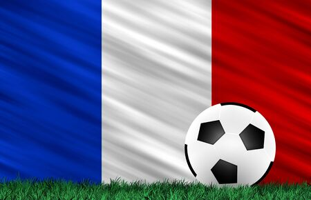 Soccer ball on grass field and  France flag photo