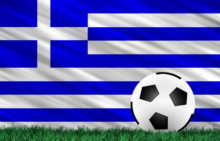 Soccer ball on grass field and  Greece  flag Stock Photo - 13794345