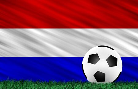 Soccer ball on grass field and  Holland  flag Stock Photo - 13794329