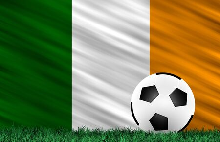 Soccer ball on grass field and  Ireland flag Stock Photo - 13794348
