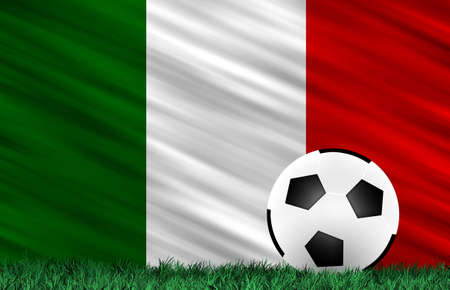 Soccer ball on grass field and  Italy flag photo