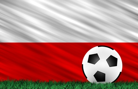 Soccer ball on grass field and  Poland  flag Stock Photo - 13794344