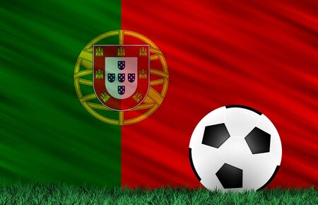 Soccer ball on grass field and  Portugal flag Stock Photo - 13794362