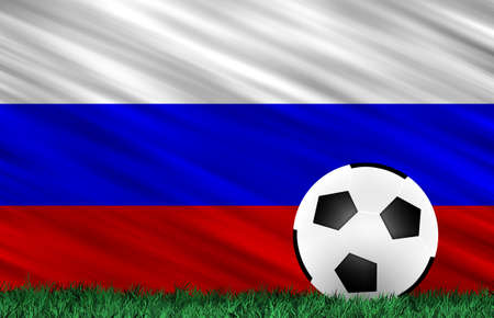 Soccer ball on grass field and  Russia  flag Stock Photo - 13794327