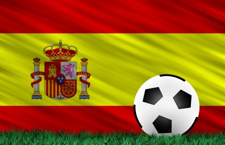 Soccer ball on grass field and  Spain flag Stock Photo - 13794383