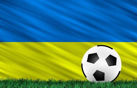Soccer ball on grass field and  Ukraine flag Stock Photo - 13794381