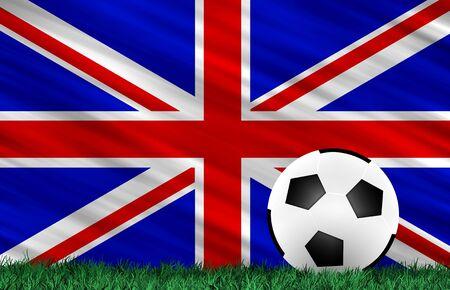Soccer ball on grass field and  United Kingdom flag photo
