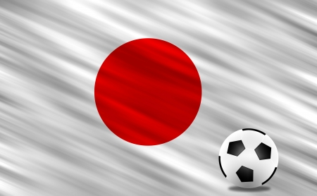 Soccer ball on grass field and  Japan flag Stock Photo - 13826703