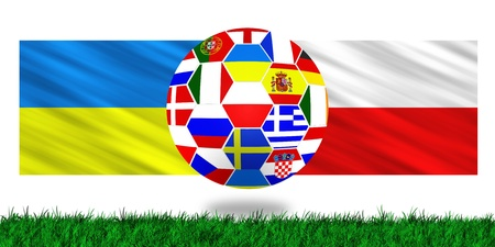 soccer ball with flags from the countries participating in the euro 2012 cup photo