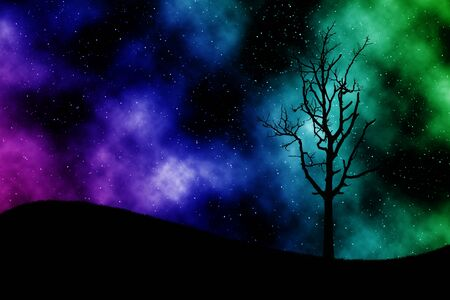 abstract tree with star space photo