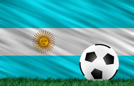 Soccer ball on grass field and  Argentina flag Stock Photo - 14149901