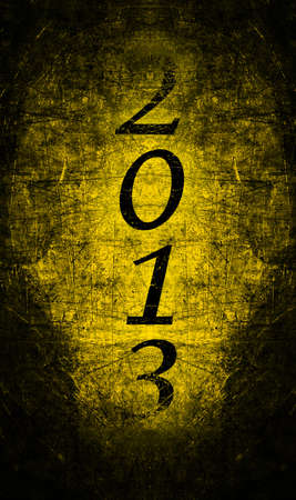 2013 text with gold metal grunge Vertical Stock Photo - 16517112