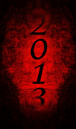 2013 text with red metal grunge Vertical Stock Photo - 16517108