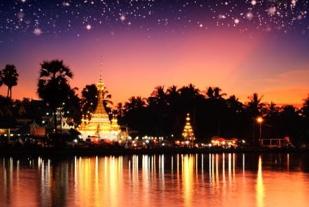 sunset at Jong klang temple, Maehongson City Northern Thailand.  Stock Photo - 17455446