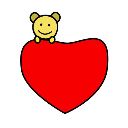 bear on red heart cartoon Stock Photo - 17455463
