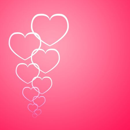 line heart on pink background Stock Photo - 17455461