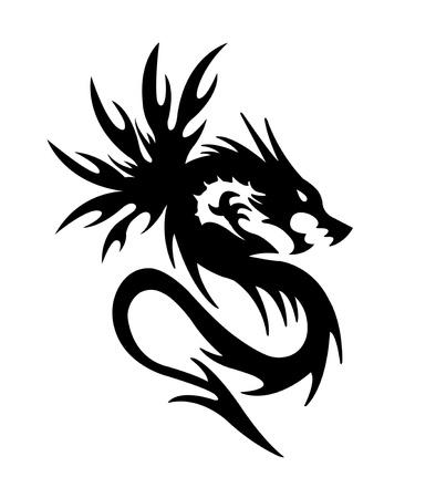 black dragon on white background Stock Photo