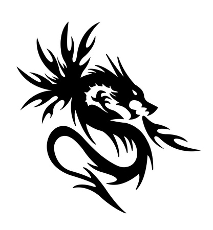 black dragon fire on white background photo