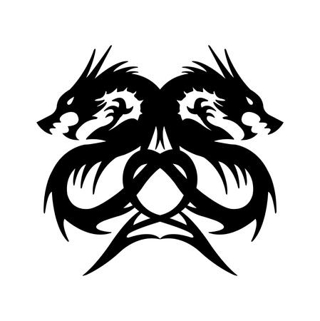 twin black dragon on white background  Stock Photo