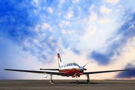 private cloud: plane landing and sky background