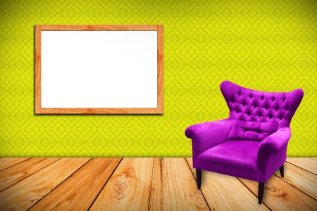 purple sofa on wood  photoframe and yellow leather background