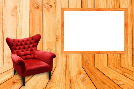red sofa on wood and photoframe photo