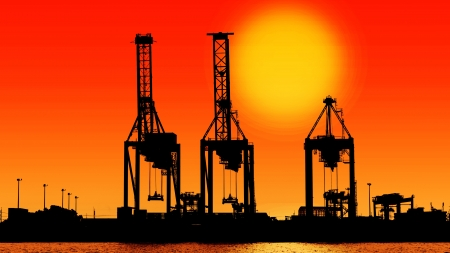 silhouette industrial shipping port with sun photo