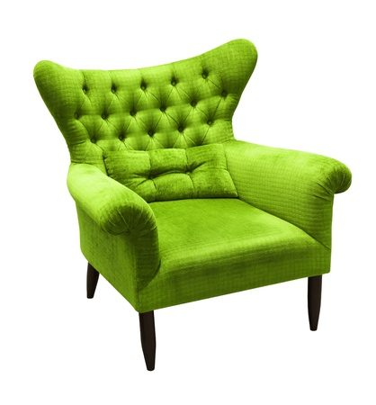 green sofa on white background photo