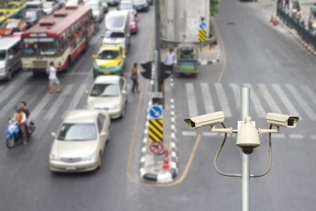 traffic cameras with top view road  background Stock Photo