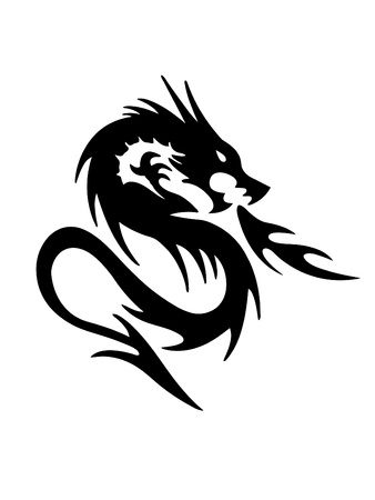 black and white dragon: black dragon on white background  Illustration