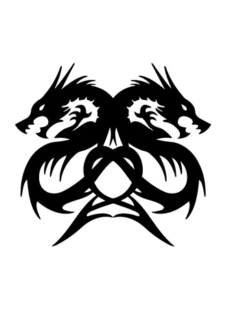 Twin Dragon op een witte achtergrond Vector Illustratie