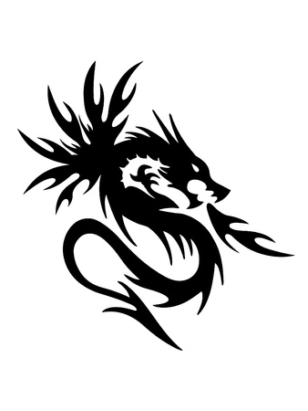 black dragon on white background  Illustration