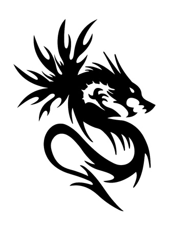black dragon on white background  Stock Vector - 20535199