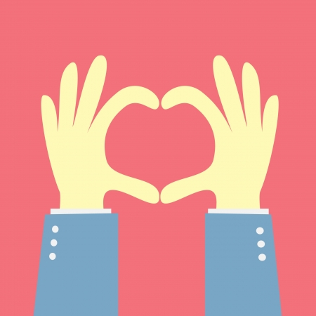 手を心臓の形を示す  イラスト・ベクター素材