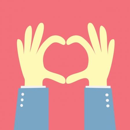 corazones azules: mano que muestra la forma del coraz�n