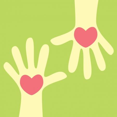 dando la mano: la mano que da el corazón Vectores